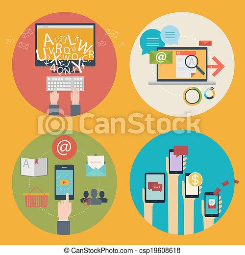 entwicklung, satz, wohnung, -, media., bildung, begriff, design, blogging, design, kommunikation, webikon, apps, online, seo, shoppen, geschäftskonzepte, dienstleistungen, werbung, beweglich, analytics, vektor, sozial, lernen - csp19608618
