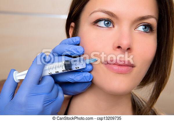 envelhecimento, mulher, mesotherapy, rosto, anti, facial, siringa, closeup - csp13209735