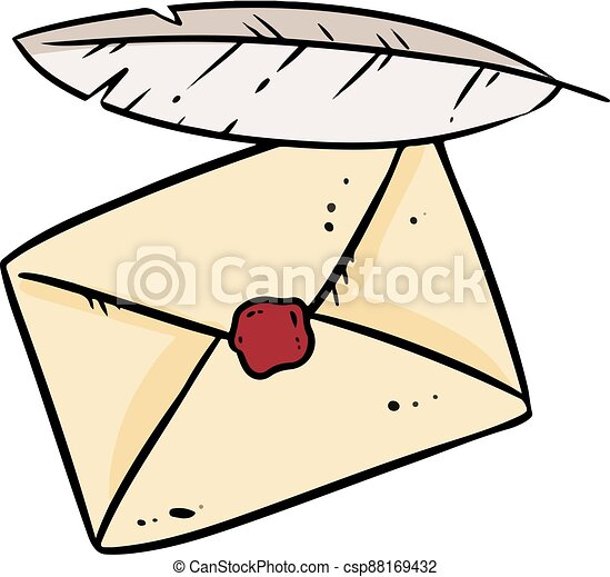 Envelope and quill doodle image. Cute cartoon of letter and feather logo. Media highlights graphic hand drawn sticker symbol - csp88169432
