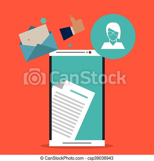 Envelope avatar smartphone email message icon. Vector graphic - csp39036943