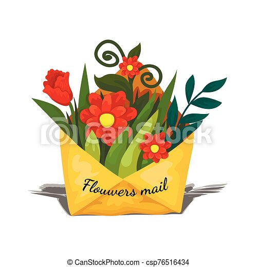 Envelope delivery flowers inside, spring gift to the woman, mailing mail icon - csp76516434