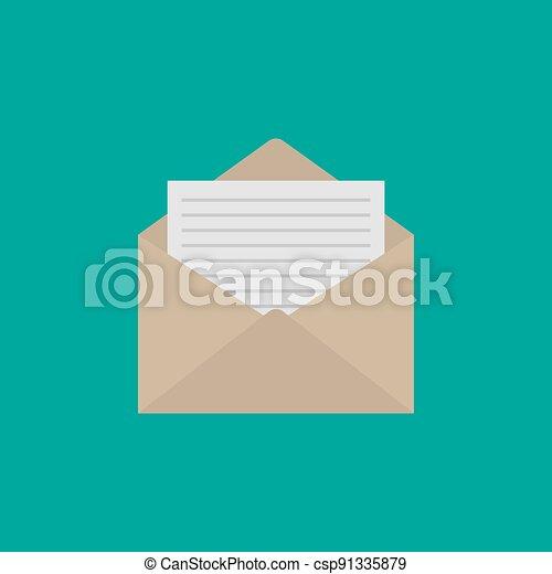 Envelope icon flat style. Mail icon isolated on white background. Vector illustration - csp91335879