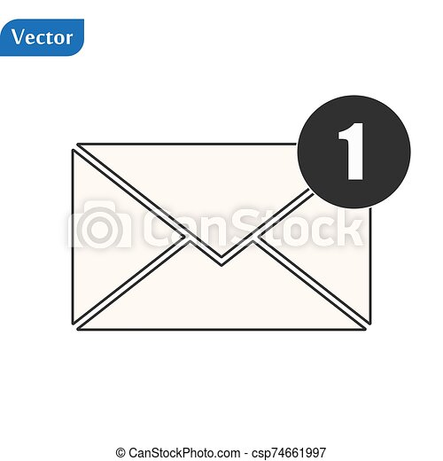 Envelope Icon in trendy flat style isolated on grey background. Mail symbol for your web site design, logo, app, UI. Vector illustration, EPS10. - csp74661997