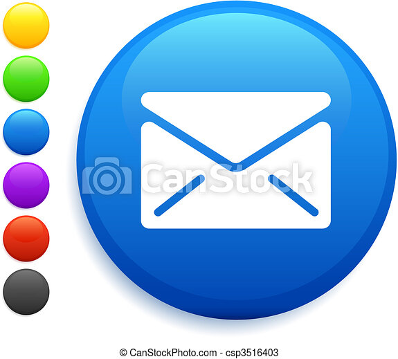 envelope icon on round internet button - csp3516403