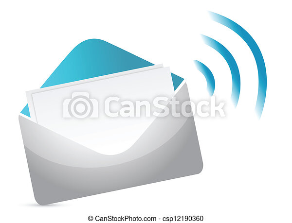 Envelope Icon with RSS Sign - csp12190360