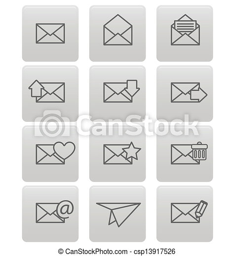 Envelope icons for email on gray squares - csp13917526