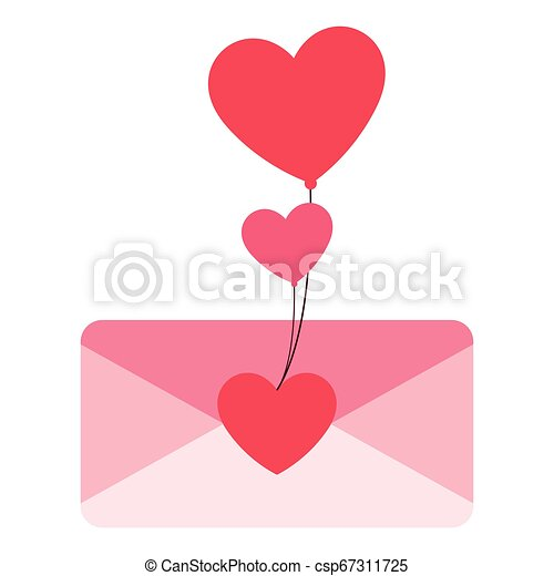 Envelope Letter Love With Hearts Balloons Helium