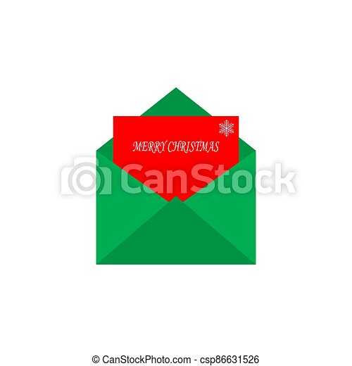 Envelope with a greeting card. Merry Christmas. Vector illustration - csp86631526