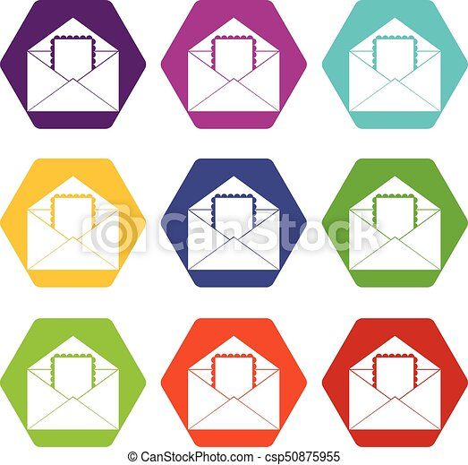 Envelope with card icon set color hexahedron - csp50875955