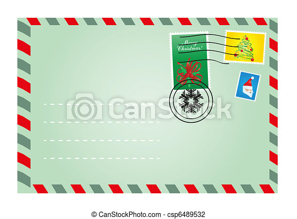 envelope with cute stamps - csp6489532