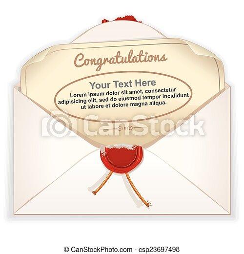 Envelope with Greeting Card - csp23697498
