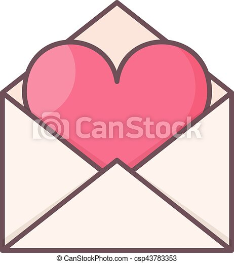 Envelope with heart inside. - csp43783353