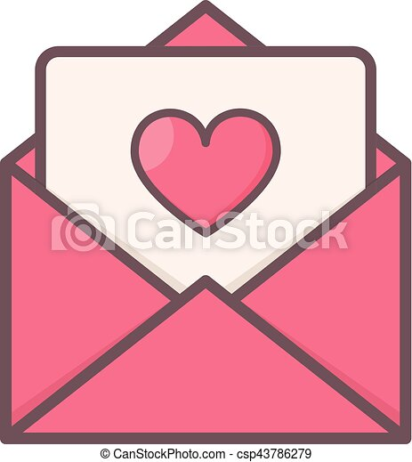 Envelope with heart inside. - csp43786279