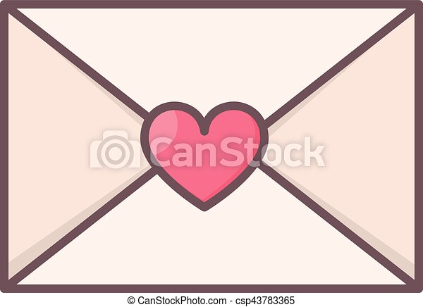 Envelope with heart seal. - csp43783365