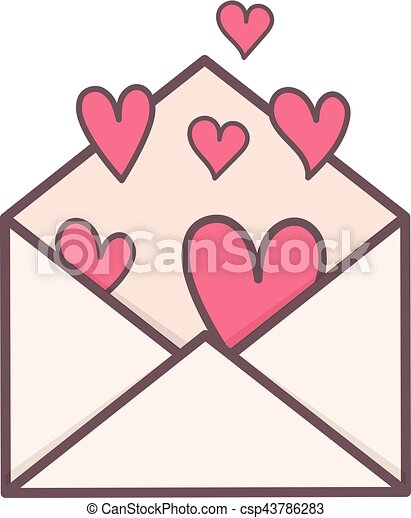 Envelope with hearts inside. - csp43786283