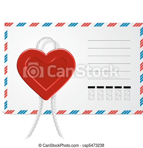Envelope With Hearts, Isolated On White Background - csp5473238