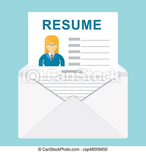 Envelope with resume. Resume writing concept. sheet resume ...