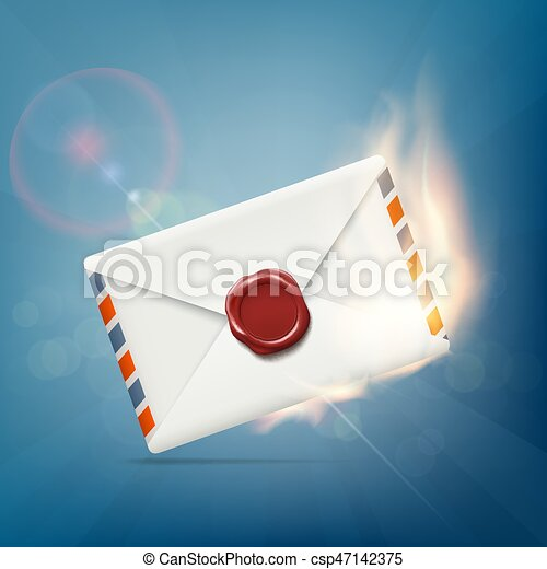 Envelope with wax seal on fire. - csp47142375