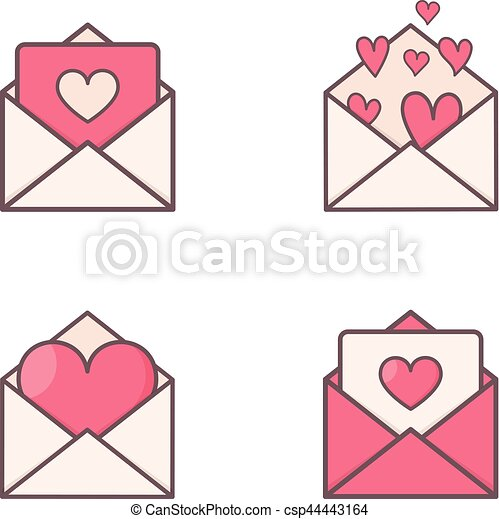 Envelopes with hearts inside. - csp44443164
