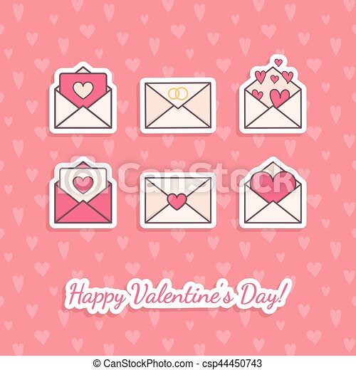 Envelopes with hearts inside. - csp44450743