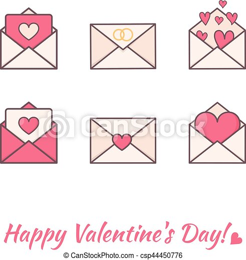 Envelopes with hearts inside. - csp44450776