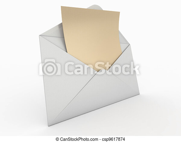 enveloppe, 3d, letter., vide, mail. - csp9617874
