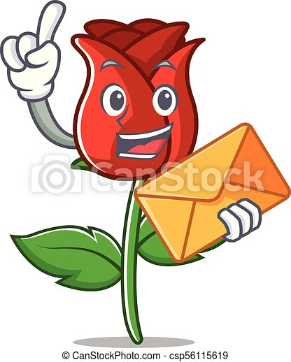 Enveloppe Caractère Dessin Animé Rose Rouge
