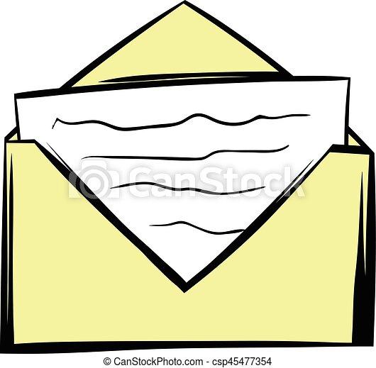 Dessin D Enveloppe enveloppe, dessin animé, lettre, icône. style, enveloppe, isolé
