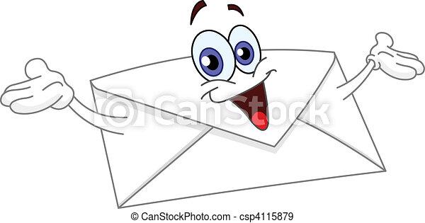 Dessin D Enveloppe sien, enveloppe, dessin animé, élévation, mains.