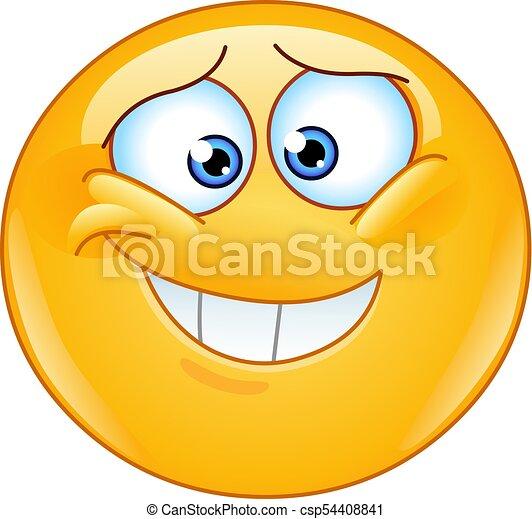 envergonhado emoticon inseguro sorrizo