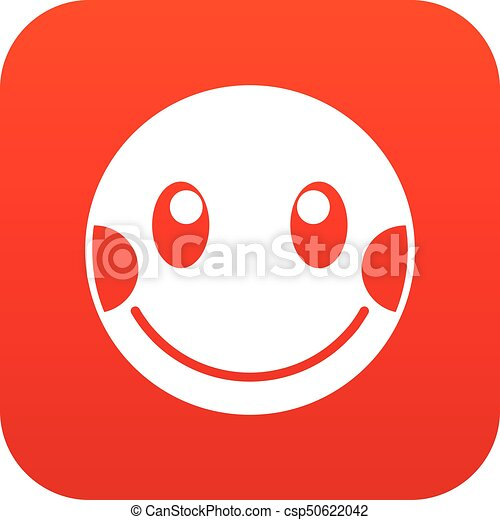 envergonhado emoticon vermelho digital emoticon isolado