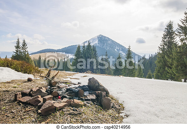 environment., 山。, 垃圾, 污染 - csp40214956