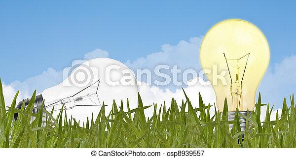Environment concept, lightbulb in the grass - csp8939557