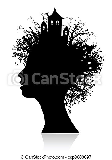 Environment, thinking silhouette - csp3683697