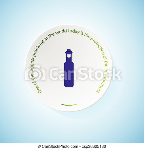 Environmental icons depicting bottle olive oil with shadow - csp38605130