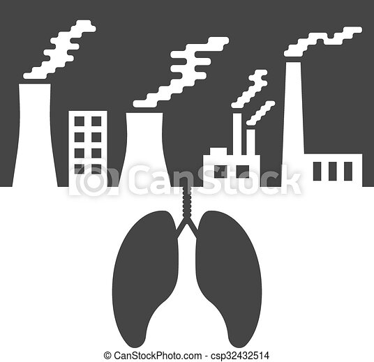 Environmental issues with lungs and air pollution csp32432514
