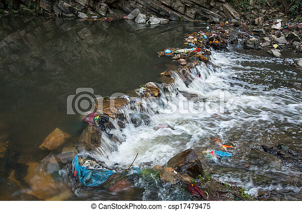 Environmental pollution in the Himalayas. Garbage in the water of Bagmati river.  - csp17479475