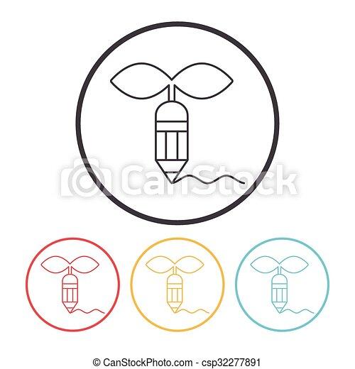 Environmental protection concept green pencil icon - csp32277891