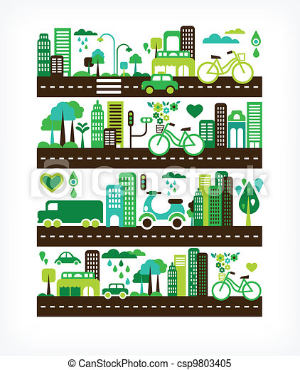environnement, ville, écologie, -, vert - csp9803405