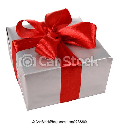 Envoltura plata regalo El envolverse del regalo aislado arco