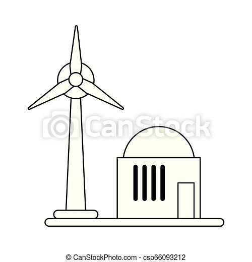 eolic, turbina, símbolo, pretas, branca, energia, vento - csp66093212