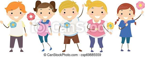 epingles, gosses, stickman, majblomma, illustration - csp69885559