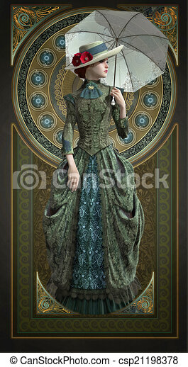 epoque, vestido, belle, cg, verde, 3d - csp21198378