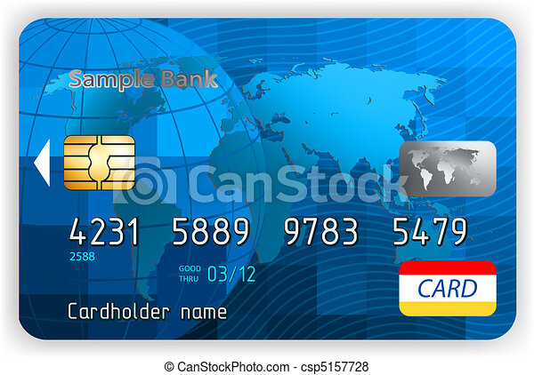 eps, クレジット, 前部, 8, ビュー。, カード - csp5157728