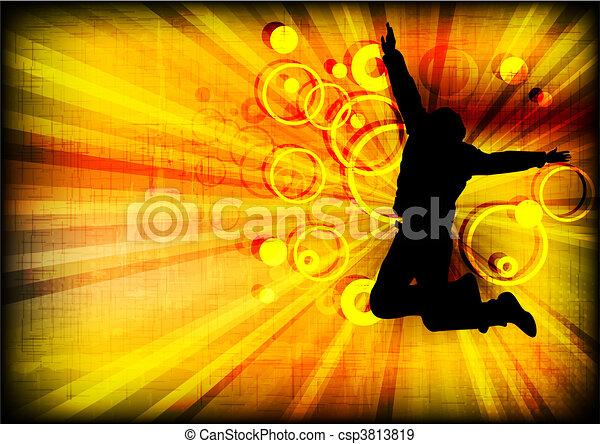 (eps, 10), grunge, pessoa, pular, fundo - csp3813819