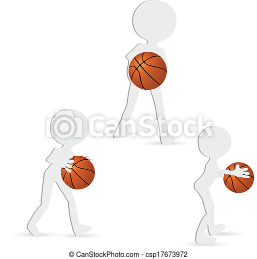 EPS 10 vector basketball players silhouette collection in pass position - csp17673972
