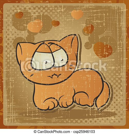 EPS 8 vintage background with vector cat - csp25946103