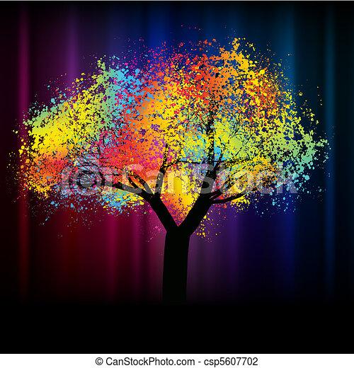 .eps, coloré, espace, résumé, arbre., 8, copie - csp5607702
