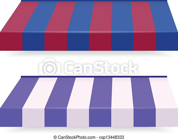 EPS Vector 10 - Colorful set of striped awnings - csp13448333
