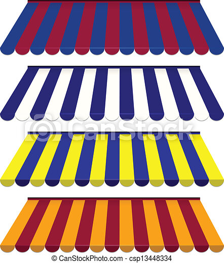 EPS Vector 10 - Colorful set of striped awnings - csp13448334